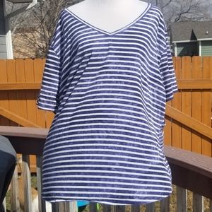 Blue and white plus size shirt